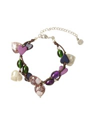 White Stuff Dbl Row Heart And Bead Bracelet