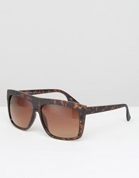 Pieces Flat Top Sunglasses In Tortoise Brown