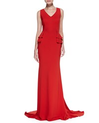 Carolina Herrera Sleeveless V Neck Gown With Peplum Lava Red
