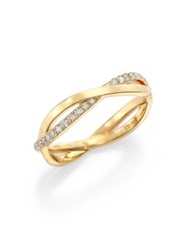 De Beers Infinity Diamond And 18K Yellow Gold Half Band Ring