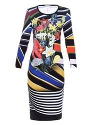 Mary Katrantzou Stripe Bouquet Print Jersey Dress
