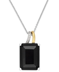 Macy's Onyx 10 Ct. T.W. And Diamond Accent Pendant Necklace In Sterling Silver And 14K Gold