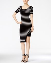 Xoxo Juniors' Striped Asymmetrical Hem Midi Dress Black Ivory Stripe