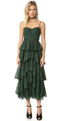 Cynthia Rowley Ruffle Lace Dress Forest Green