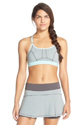 Lole 'Alpine' Stripe Racerback Sports Bra Upf 50 Clearly Aqua Stripe