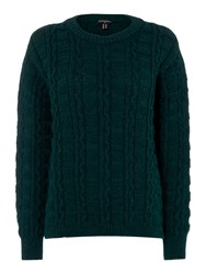 Gloverall Cable Crew Neck Jumper Brown