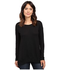 Lilla P Pima Modal Slub Long Sleeve Rib Boat Neck Black Women's Clothing