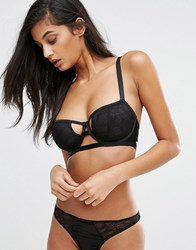 Wolf And Whistle Barely There Lace Mesh Bra Black