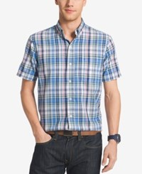 Izod Men's Big And Tall Plaid Short Sleeve Shirt Blue Revival