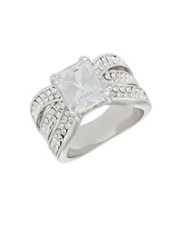 Michela Triple Band Rhinestone Pave Ring Silver
