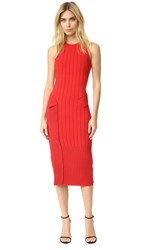 Jonathan Simkhai Dasha Knit Slit Dress Red