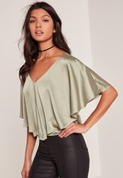 Missguided Green Satin Cape Blouse