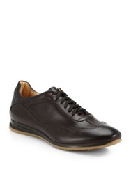 Saks Fifth Avenue Burnished Leather Sneakers Dark Brown