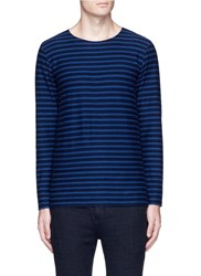 Eidos Breton Stripe Cotton Long Sleeve T Shirt Blue
