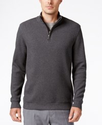 Tasso Elba Men's Honeycomb Textured Quarter Zip Sweater Only At Macy's Dark Slate Heather