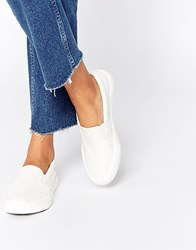 Missguided Croc Effect Slip On Plimsol White