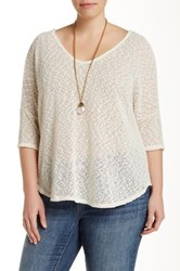 Jessica Simpson Elinah V Neck Pullover Sweater Plus Size White