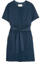 Current Elliott The Ama Broderie Anglaise Cotton Mini Dress Navy