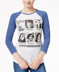 Hybrid The Breakfast Club Juniors' Yearbook Graphic Raglan T Shirt White Navy