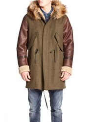 Diesel W Nick Shearling And Faux Fur Trimmed Coat Olive