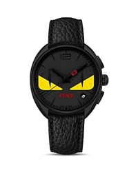 Fendi Momento Fendi Bug Black Pvd Watch With Leather Strap 40Mm