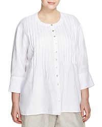 Allen Allen Plus Pintuck Linen Shirt White