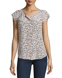 Joie Iva Printed Cap Sleeve Silk Top Soft Sand