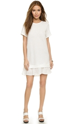 Clu Short Sleeve Sweatshirt Dress With Ruffle Ivory White