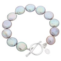 Claudia Bradby Bedruthan Freshwater Coin Pearl Bracelet Grey