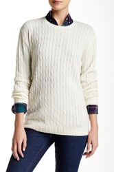 Trovata Cable Knit Wool Blend Sweater White