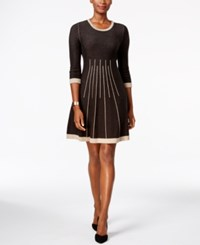 Jessica Howard Petite Seamed Fit And Flare Sweater Dress Black Tan