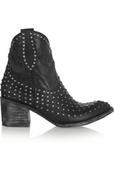 Mexicana Laguna Studded Distressed Leather Ankle Boots Black