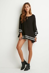 Forever 21 Embroidered Bell Sleeve Tunic Black Cream