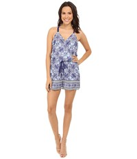 Adelyn Rae Trible Print Romper Blue White Women's Jumpsuit And Rompers One Piece