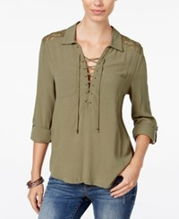 American Rag Lace Up Roll Tab Blouse Only At Macy's Olive