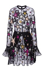 Elie Saab Long Sleeved Mini Dress With Embroidered Multicolor Stars Black White Pink