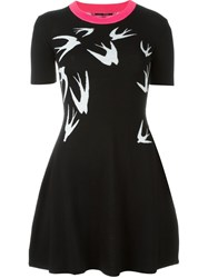 Mcq By Alexander Mcqueen Swallow Intarsia Skater Dress Black