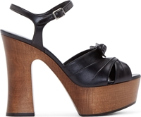 Saint Laurent Black Leather And Wood Candy Platform Heels