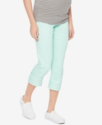 Motherhood Maternity Twill Capri Pants Crystal Waters Blue