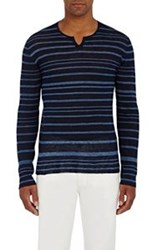 John Varvatos Split Neck Linen Sweater Blue