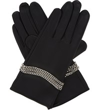 The Kooples Chain Detail Leather Gloves Black