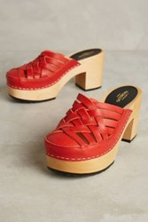 Anthropologie Swedish Hasbeens Camilla Clogs Red