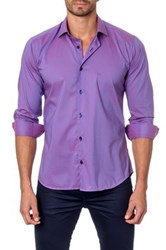 Jared Lang Long Sleeve Solid Semi Fitted Shirt Purple