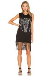 Lauren Moshi Gin Tank Fringe Dress Black
