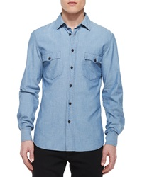 Belstaff Lowry Chambray Long Sleeve Shirt Blue