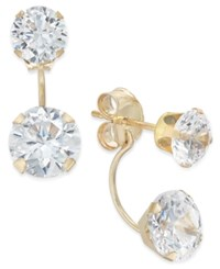 Macy's Cubic Zirconia Peekaboo Front And Back Earrings In 10K Gold Yellow Gold