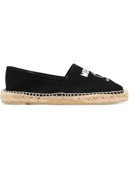 Moschino Double Question Mark Print Espadrilles Black