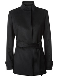 Jaeger Wool Funnel Neck Coat Black