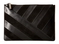 Alice Olivia Suede Striped Large Zip Pouch Black