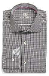 Bugatchi Men's Big And Tall Trim Fit Dot And Check Dress Shirt Black